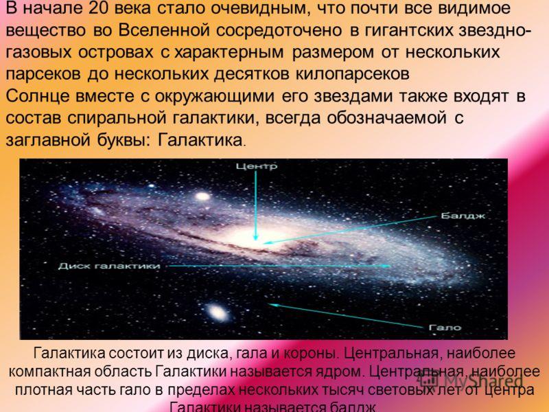 В начале 20 века стало очевидным, что почти все видимое вещество во Вселенной сосредоточено в гигантских звездно- газовых островах с характерным размером от нескольких парсеков до нескольких десятков килопарсеков Солнце вместе с окружающими его звезд