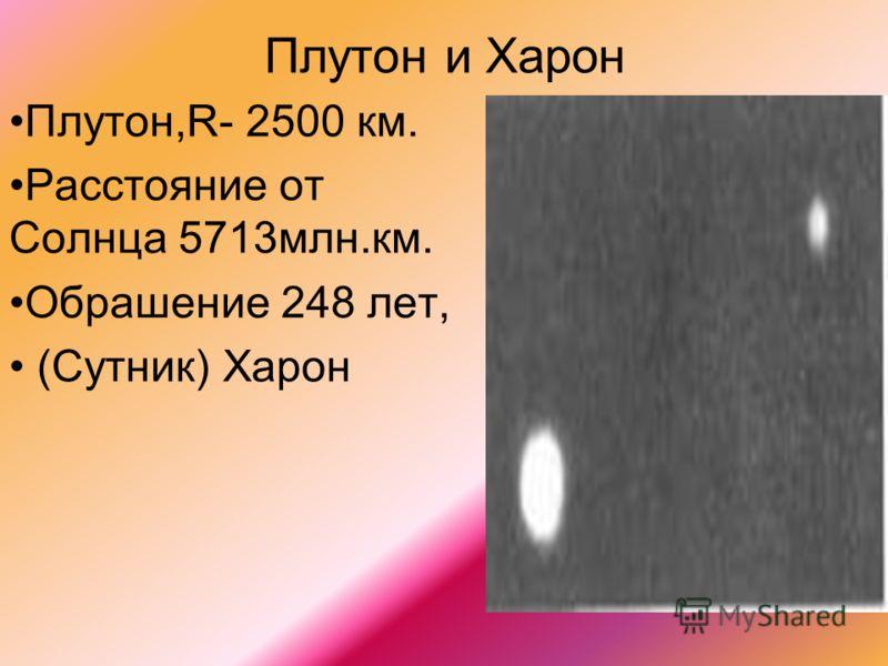Плутон и Харон Плутон,R- 2500 км. Расстояние от Солнца 5713млн.км. Обрашение 248 лет, (Сутник) Харон