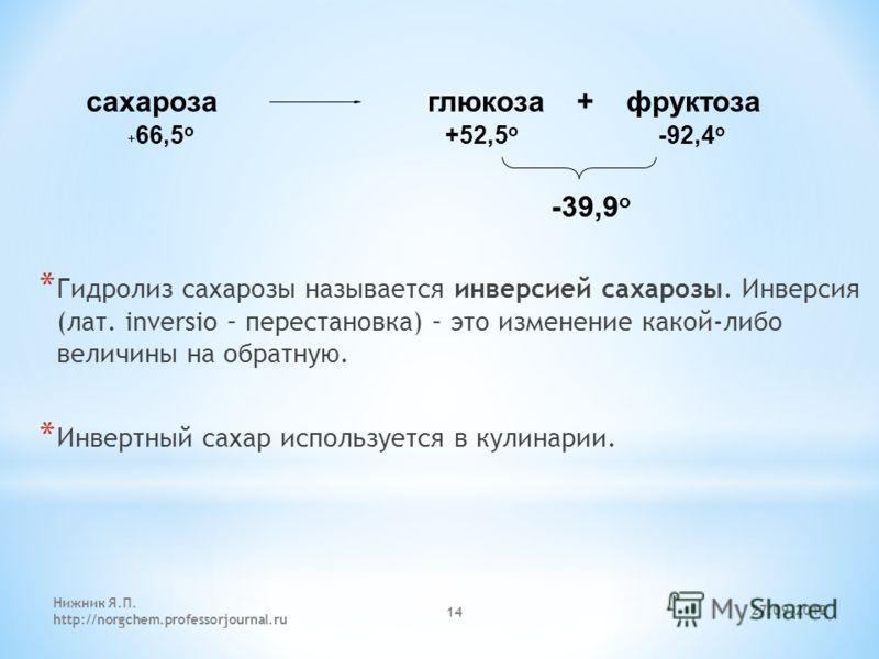 27.09.2012 Нижник Я.П. http://norgchem.professorjournal.ru 14 * Гидролиз сахарозы называется инверсией сахарозы. Инверсия (лат. inversio – перестановка) – это изменение какой-либо величины на обратную. * Инвертный сахар используется в кулинарии. + 66