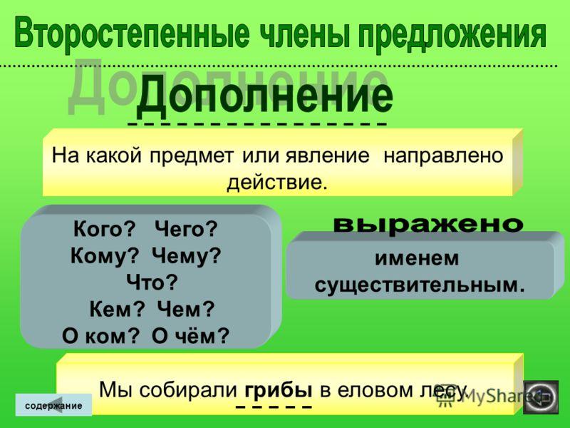 Признак предмета. Какой? Чей? Какая? Чья? Какое? Чьё? Какие? Чьи? именем прилагательным, именем существительным. ~~~~~~~~~~~~~~~~~ Мы собирали грибы в еловом лесу. Лисья нора очень глубокая. ~~~~~~~ содержание