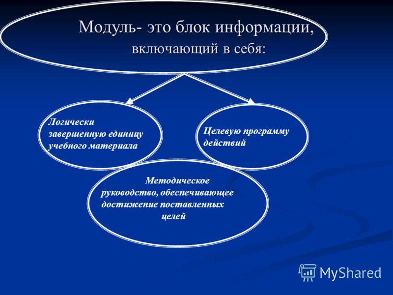 Модуль- это блок информации, включающий в себя: Логически завершенную единицу учебного материала Целевую программу действий Методическое руководство, обеспечивающее достижение поставленных целей