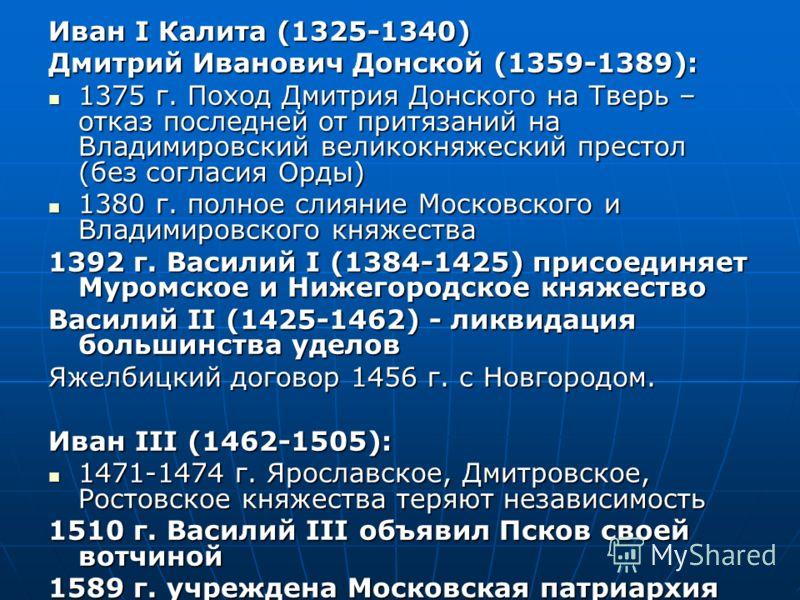 Иван I Калита (1325-1340) Дмитрий Иванович Донской (1359-1389): 1375 г. Поход Дмитрия Донского на Тверь – отказ последней от притязаний на Владимировский великокняжеский престол (без согласия Орды) 1375 г. Поход Дмитрия Донского на Тверь – отказ посл
