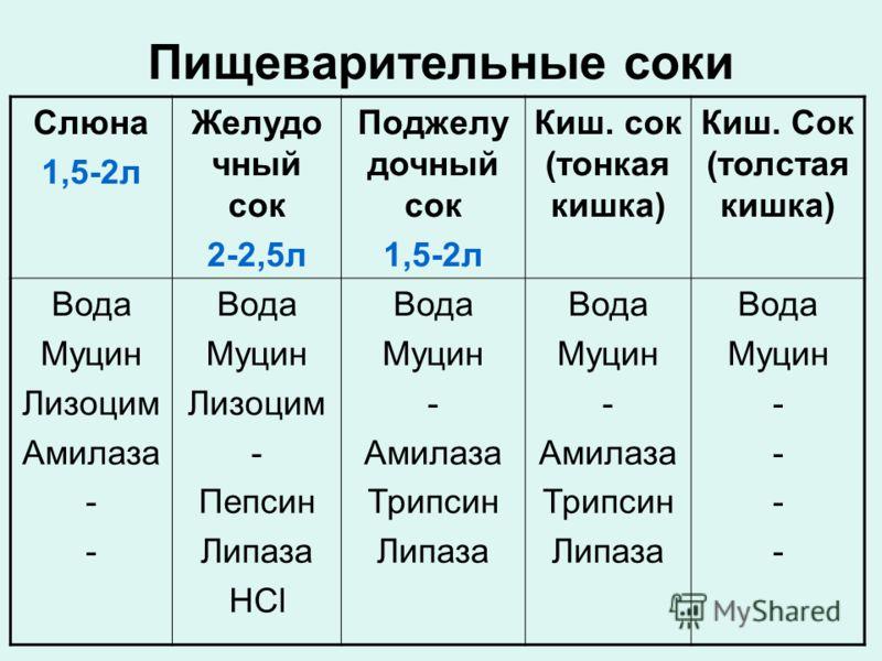 Пищеварительные соки Слюна 1,5-2л Желудо чный сок 2-2,5л Поджелу дочный сок 1,5-2л Киш. сок (тонкая кишка) Киш. Сок (толстая кишка) Вода Муцин Лизоцим Амилаза - Вода Муцин Лизоцим - Пепсин Липаза HCl Вода Муцин - Амилаза Трипсин Липаза Вода Муцин - А