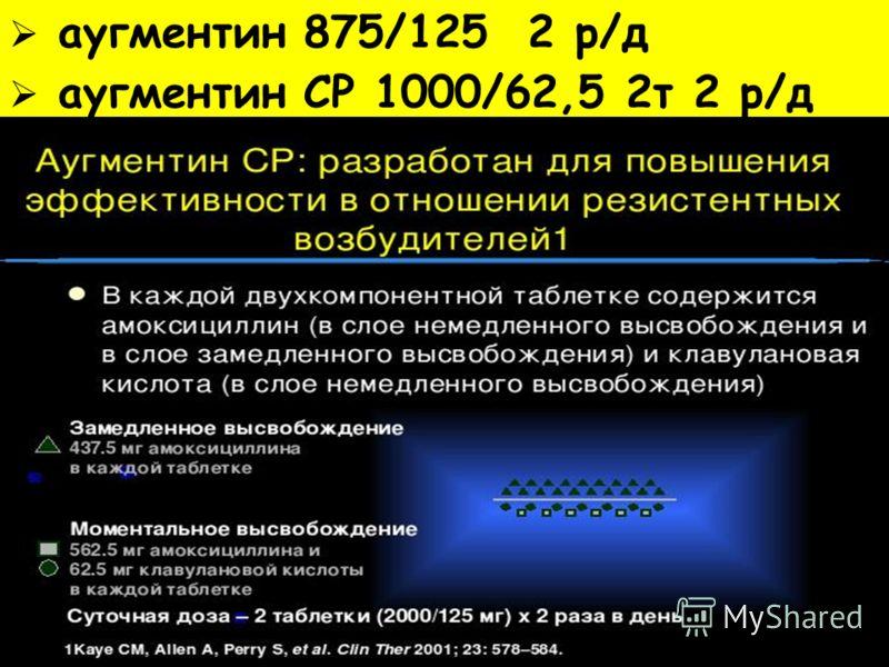 аугментин 875/125 2 р/д аугментин СР 1000/62,5 2т 2 р/д