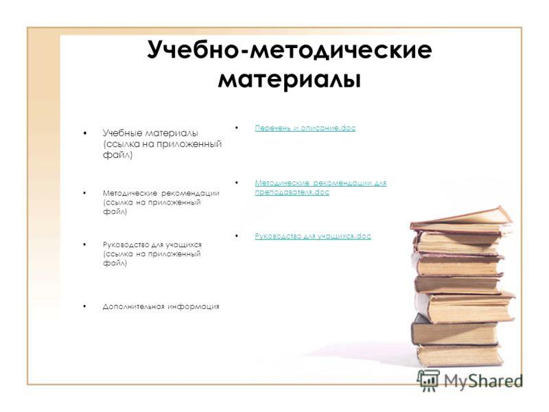 Учебно-методические материалы Учебные материалы (ссылка на приложенный файл) Методические рекомендации (ссылка на приложенный файл) Руководство для учащихся (ссылка на приложенный файл) Дополнительная информация Перечень и описание.docПеречень и опис