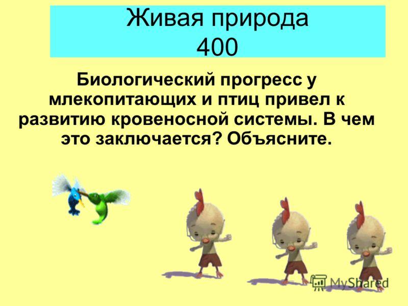Живая природа 400 Биологический прогресс у млекопитающих и птиц привел к развитию кровеносной системы. В чем это заключается? Объясните.