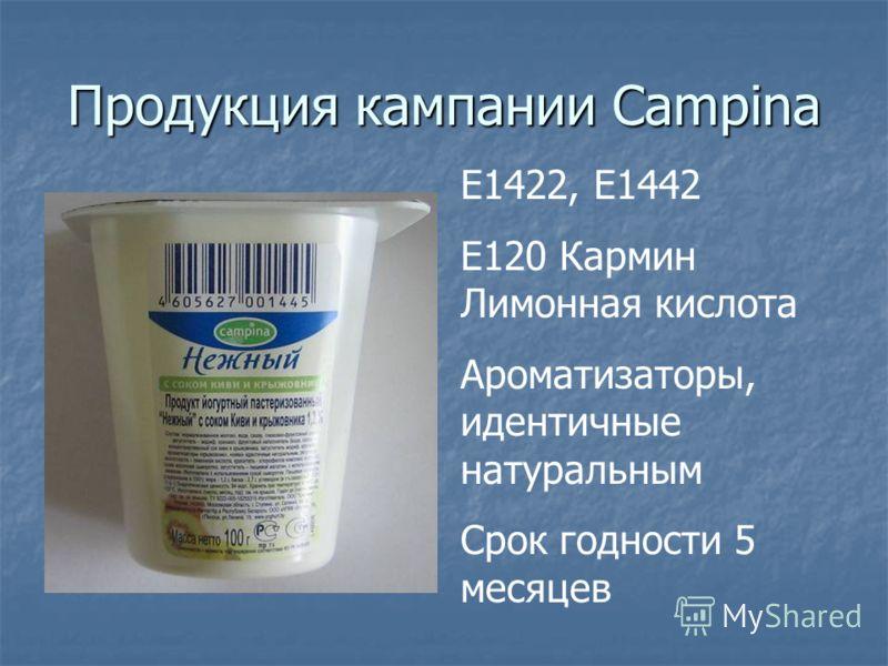 Продукция кампании Campina Е1422, Е1442 Е120 Кармин Лимонная кислота Ароматизаторы, идентичные натуральным Срок годности 5 месяцев