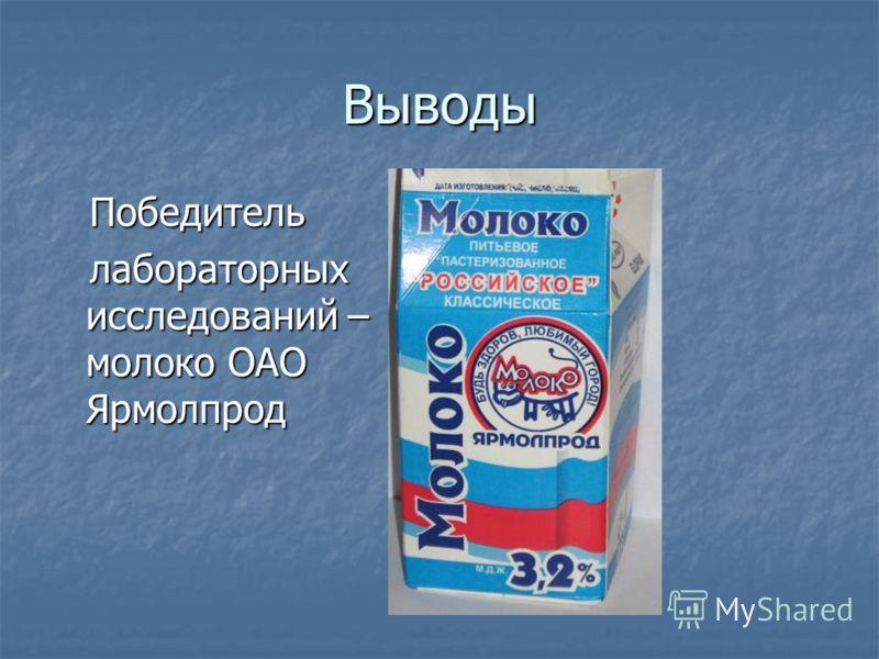 Выводы Победитель Победитель лабораторных исследований – молоко ОАО Ярмолпрод лабораторных исследований – молоко ОАО Ярмолпрод