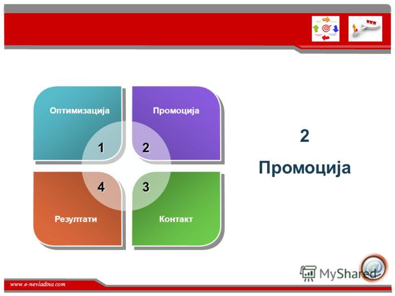 www.e-nevladina.com Развивање на македонскиот пазар Сеуште македонскиот пазар односно веб страни се во почетна форма на оптимизација за пребарувачи. Поради недостатокот на конкуренција сите имаат чувство дека направиле нешто добро а всушност немањето