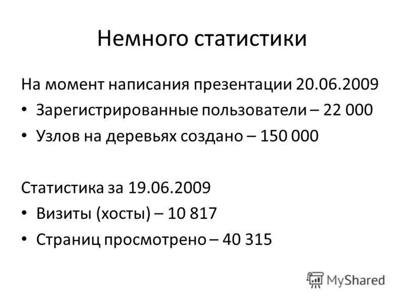 Немного статистики На момент написания презентации 20.06.2009 Зарегистрированные пользователи – 22 000 Узлов на деревьях создано – 150 000 Статистика за 19.06.2009 Визиты (хосты) – 10 817 Страниц просмотрено – 40 315