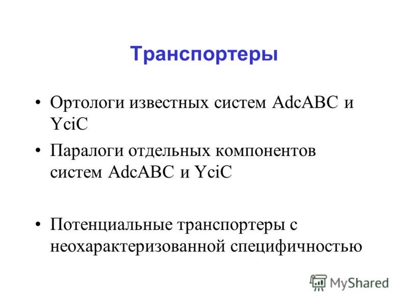 Транспортеры Ортологи известных систем AdcABC и YciC Паралоги отдельных компонентов систем AdcABC и YciC Потенциальные транспортеры с неохарактеризованной специфичностью