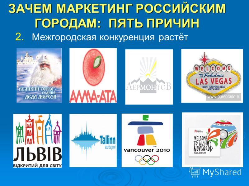 ЗАЧЕМ МАРКЕТИНГ РОССИЙСКИМ ГОРОДАМ: ПЯТЬ ПРИЧИН 2. Межгородская конкуренция растёт