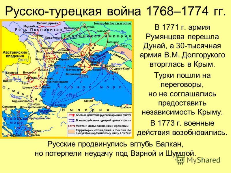 Русско-турецкая война 1768–1774 гг. В 1771 г. армия Румянцева перешла Дунай, а 30-тысячная армия В.М. Долгорукого вторглась в Крым. Турки пошли на переговоры, но не соглашались предоставить независимость Крыму. В 1773 г. военные действия возобновилис