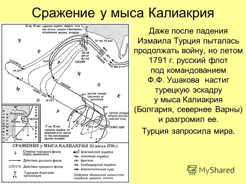 Сражение у мыса Калиакрия Даже после падения Измаила Турция пыталась продолжать войну, но летом 1791 г. русский флот под командованием Ф.Ф. Ушакова настиг турецкую эскадру у мыса Калиакрия (Болгария, севернее Варны) и разгромил ее. Турция запросила м