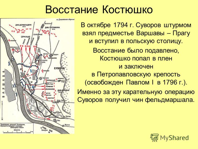 Восстание Костюшко В октябре 1794 г. Суворов штурмом взял предместье Варшавы – Прагу и вступил в польскую столицу. Восстание было подавлено, Костюшко попал в плен и заключен в Петропавловскую крепость (освобожден Павлом I в 1796 г.). Именно за эту ка