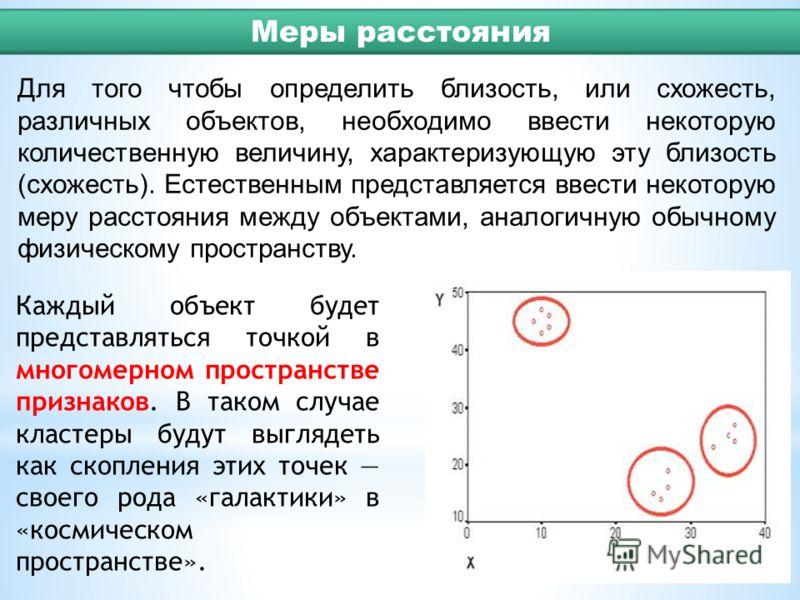 Для того чтобы определить близость, или схожесть, различных объектов, необходимо ввести некоторую количественную величину, характеризующую эту близость (схожесть). Естественным представляется ввести некоторую меру расстояния между объектами, аналогич