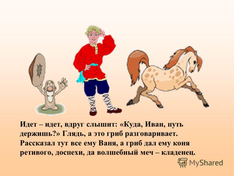 Идет – идет, вдруг слышит: «Куда, Иван, путь держишь?» Глядь, а это гриб разговаривает. Рассказал тут все ему Ваня, а гриб дал ему коня ретивого, доспехи, да волшебный меч – кладенец.