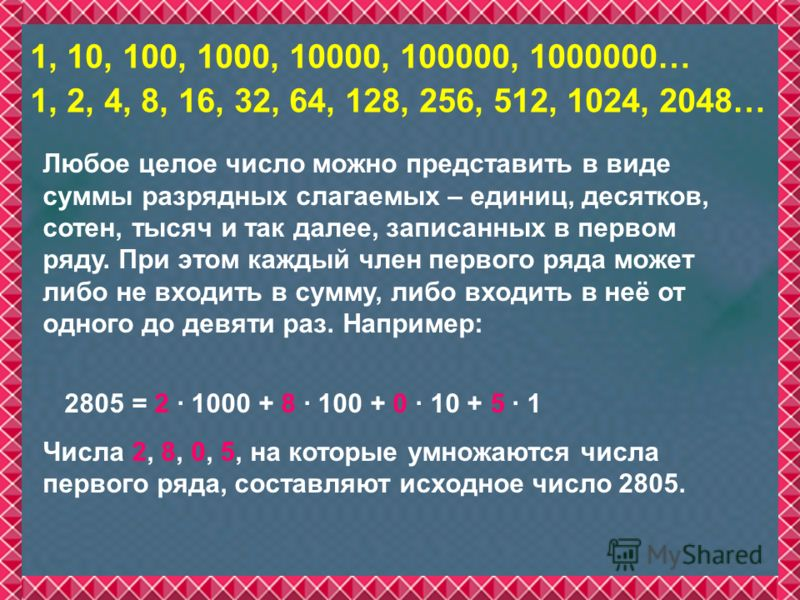 1, 10, 100, 1000, 10000, 100000, 1000000… 1, 2, 4, 8, 16, 32, 64, 128, 256, 512, 1024, 2048… Любое целое число можно представить в виде суммы разрядных слагаемых – единиц, десятков, сотен, тысяч и так далее, записанных в первом ряду. При этом каждый