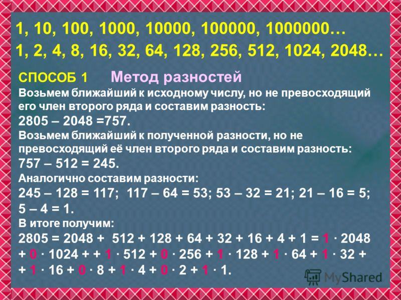 СПОСОБ 1 Метод разностей Возьмем ближайший к исходному числу, но не превосходящий его член второго ряда и составим разность: 2805 – 2048 =757. Возьмем ближайший к полученной разности, но не превосходящий её член второго ряда и составим разность: 757