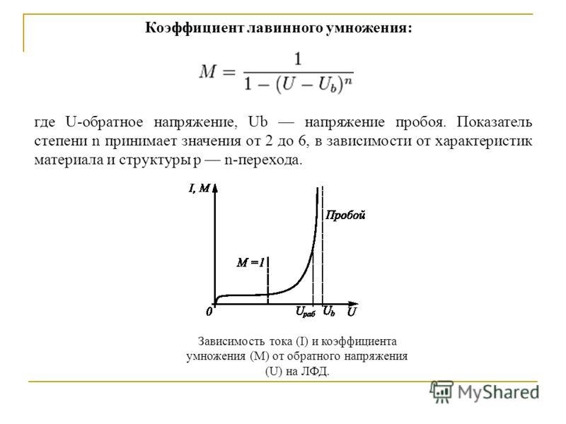 Зависимость тока (I) и коэффициента умножения (M) от обратного напряжения (U) на ЛФД. Коэффициент лавинного умножения: где U-обратное напряжение, Ub напряжение пробоя. Показатель степени n принимает значения от 2 до 6, в зависимости от характеристик
