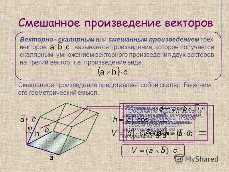 Смешанное произведение векторов Смешанное произведение представляет собой скаляр. Выясним его геометрический смысл. Векторно - скалярным или смешанным произведением трех векторов называется произведение, которое получается скалярным умножением вектор