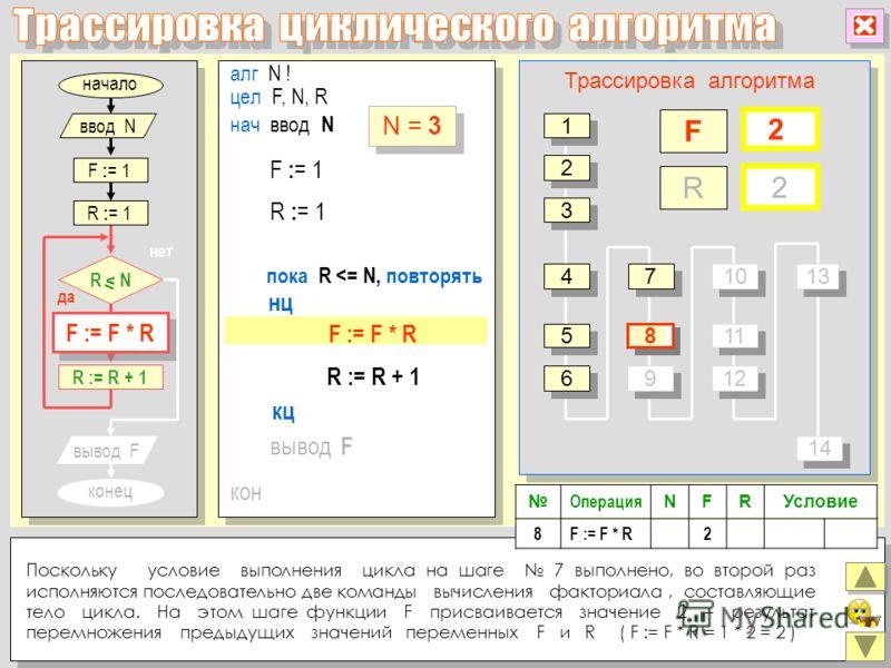 алг N ! цел F, N, R нц кон кц нач ввод N R := R + 1 вывод F пока R
