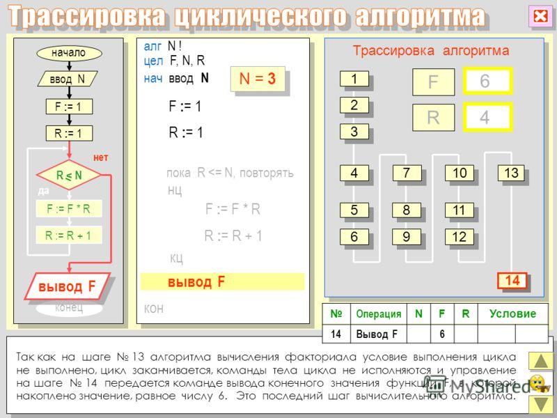 конец алг N ! цел F, N, R нц кон кц нач ввод N F : = F * R R : = R + 1 пока R