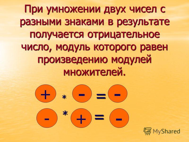 При умножении двух чисел с разными знаками в результате получается отрицательное число, модуль которого равен произведению модулей множителей. * = * = + -- + - - * =