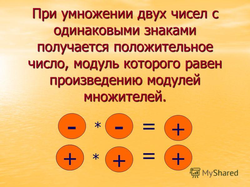 При умножении двух чисел с одинаковыми знаками получается положительное число, модуль которого равен произведению модулей множителей. - * - + - + + + * = =