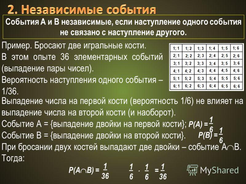 События А и В независимые, если наступление одного события не связано с наступление другого. Пример. Бросают две игральные кости. В этом опыте 36 элементарных событий (выпадение пары чисел). Вероятность наступления одного события – 1/36. Выпадение чи