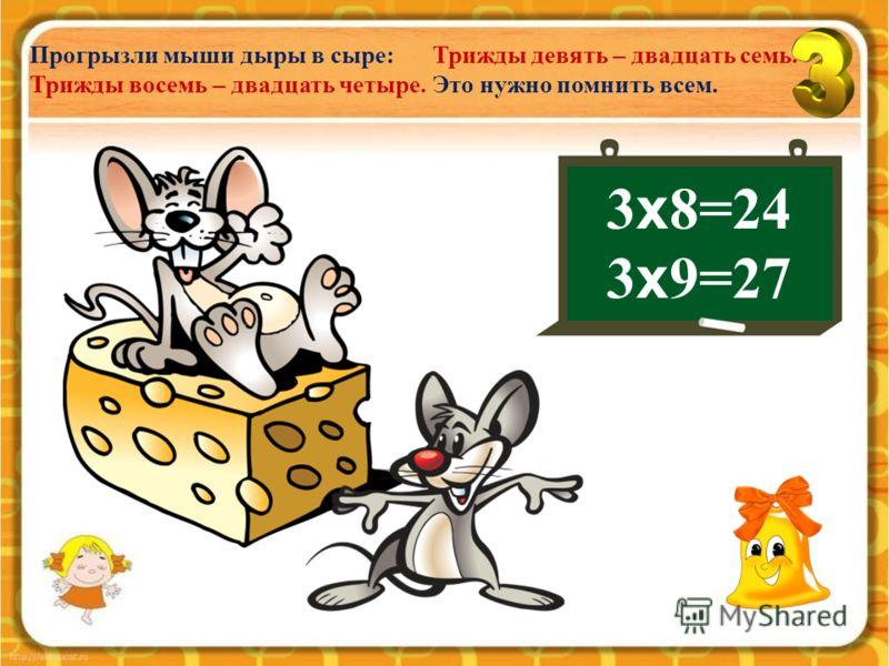 3 х 6=18 3 х 7=21 Стал Фома оладьи есть: Восемнадцать – трижды шесть. Трижды семь – двадцать один. На носу горячий блин.