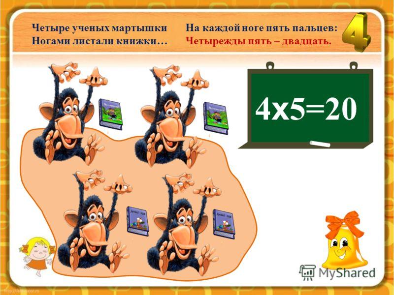 4 х 4=16 Четыре милых свинки Плясали без сапог: Четырежды четыре – Шестнадцать голых ног.