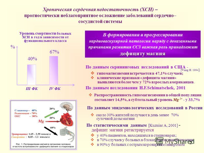 2 Хроническая сердечная недостаточность (ХСН) – прогностически неблагоприятное осложнение заболеваний сердечно– сосудистой системы Уровень смертности больных ХСН в год в зависимости от функционального класса % 40% 67% III ФКIV ФК В формировании и про