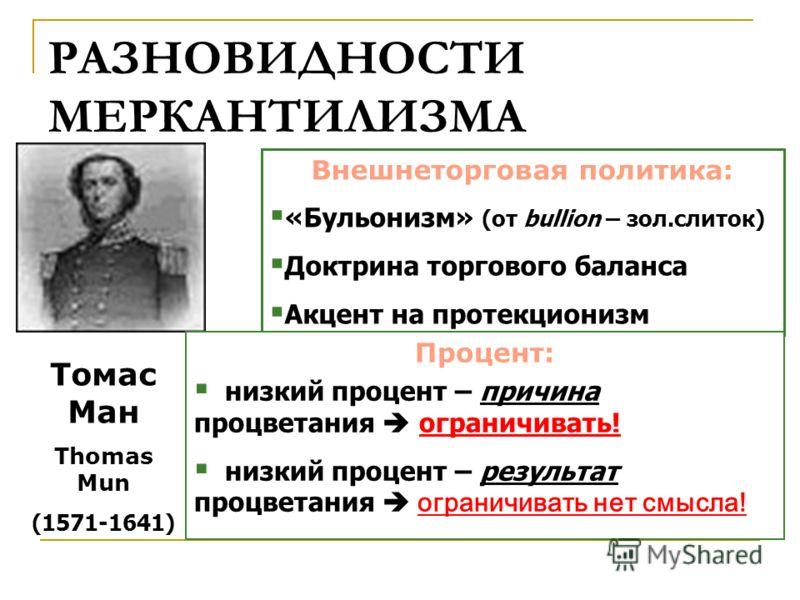 РАЗНОВИДНОСТИ МЕРКАНТИЛИЗМА Томас Ман Thomas Mun (1571-1641) Внешнеторговая политика: «Бульонизм» (от bullion – зол.слиток) Доктрина торгового баланса Акцент на протекционизм Процент: низкий процент – причина процветания ограничивать! низкий процент