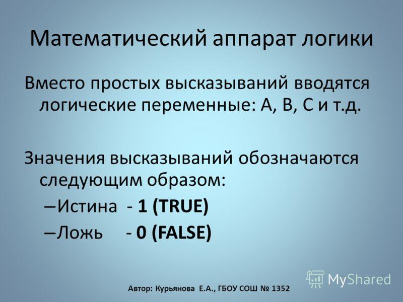 Математический аппарат логики Вместо простых высказываний вводятся логические переменные: А, В, С и т.д. Значения высказываний обозначаются следующим образом: – Истина - 1 (TRUE) – Ложь - 0 (FALSE) Автор: Курьянова Е.А., ГБОУ СОШ 1352
