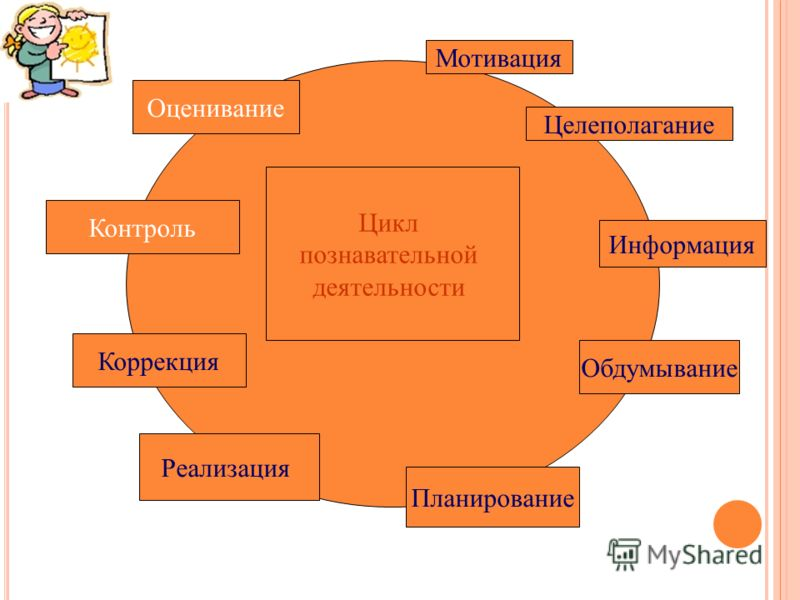 Мотивация Целеполагание Цикл познавательной деятельности Информация Обдумывание Планирование Реализация Контроль Оценивание Коррекция