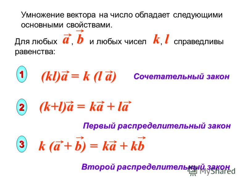 Умножение вектора на число обладает следующими основными свойствами. k (l a) (kl)a = Сочетательный закон Первый распределительный закон Второй распределительный закон k (a + b) = ka + kb (k+l)a = ka + la Для любых, и любых чисел, справедливы равенств