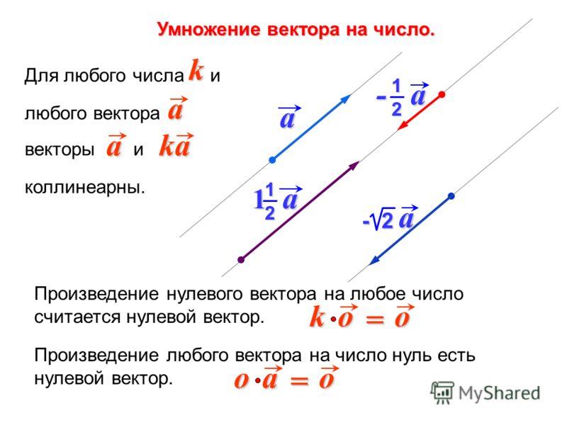 Произведение любого вектора на число нуль есть нулевой вектор. o a o = Произведение нулевого вектора на любое число считается нулевой вектор. o o k = Для любого числа и любого вектора векторы и коллинеарны. ak aka a - 2 a - a 12 1 a 1 2