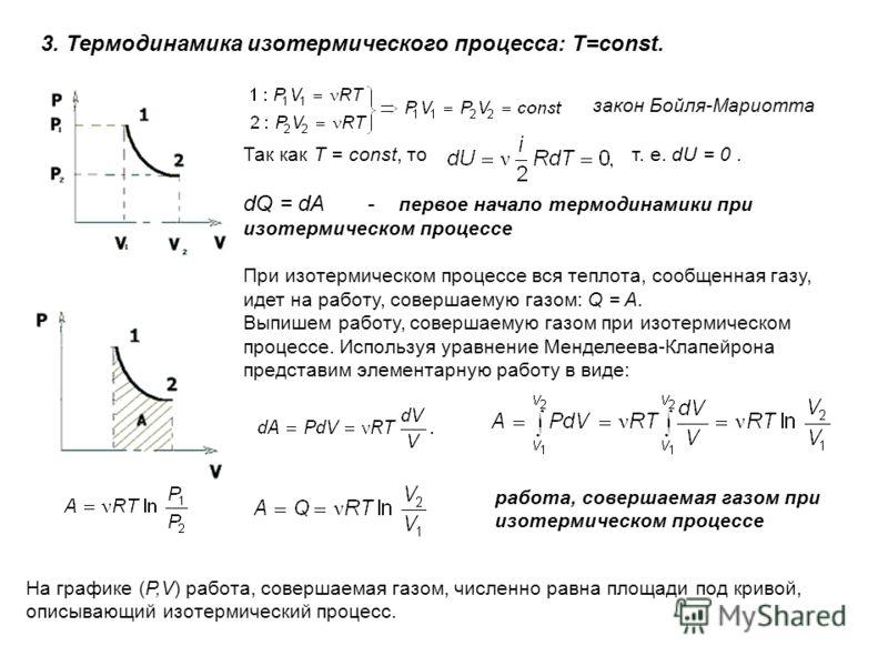 3. Термодинамика изотермического процесса: T=const. Так как T = const, то т. е. dU = 0. dQ = dA - первое начало термодинамики при изотермическом процессе При изотермическом процессе вся теплота, сообщенная газу, идет на работу, совершаемую газом: Q =