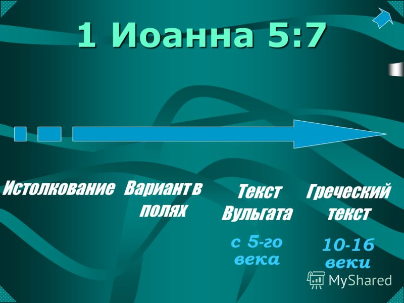 1 Иоанна 5:7 ИстолкованиеВариант в полях Текст Вульгата Греческий текст с 5-го века 10-16 веки
