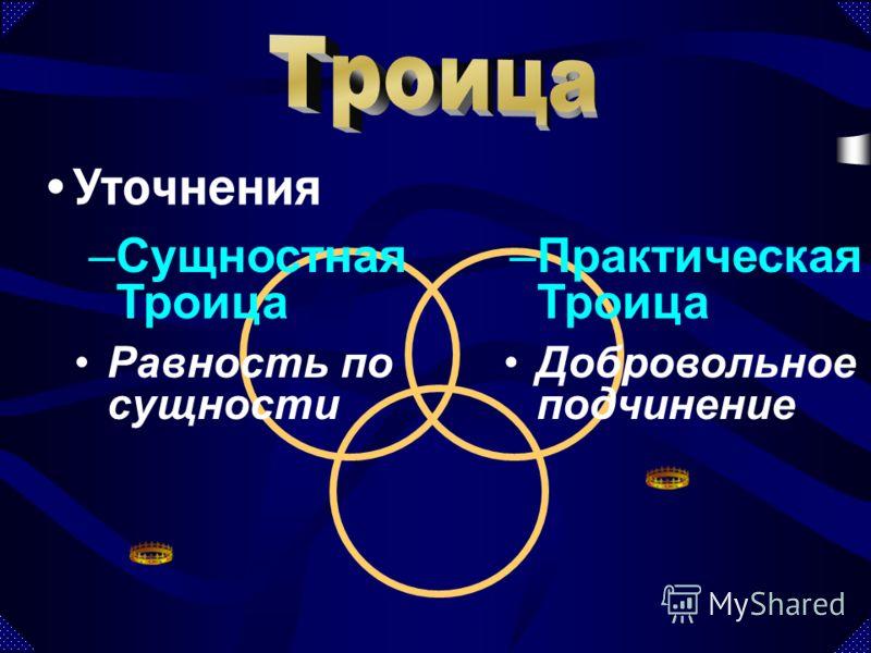 Уточнения –Сущностная Троица –Практическая Троица Равность по сущности Добровольное подчинение