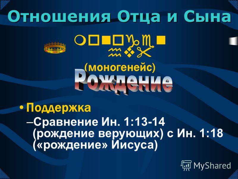 monogen hv (моногенейс) Поддержка –Сравнение Ин. 1:13-14 (рождение верующих) с Ин. 1:18 («рождение» Иисуса) Отношения Отца и Сына