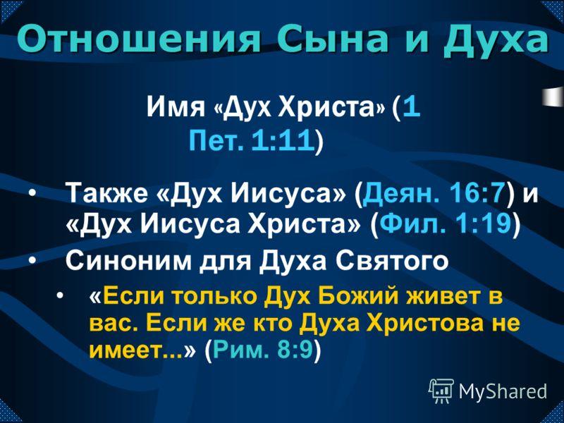 Также «Дух Иисуса» (Деян. 16:7) и «Дух Иисуса Христа» (Фил. 1:19) Синоним для Духа Святого «Если только Дух Божий живет в вас. Если же кто Духа Христова не имеет...» (Рим. 8:9) Имя «Дух Христа» (1 Пет. 1:11) Отношения Сына и Духа