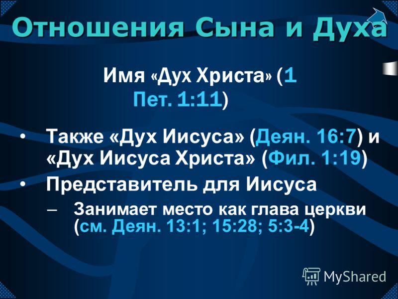 Имя «Дух Христа» (1 Пет. 1:11) Также «Дух Иисуса» (Деян. 16:7) и «Дух Иисуса Христа» (Фил. 1:19) Представитель для Иисуса –Занимает место как глава церкви (см. Деян. 13:1; 15:28; 5:3-4) Отношения Сына и Духа