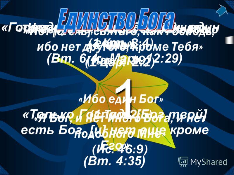 1111 «Ты веруешь, что Бог един: хорошо делаешь...» (Иак. 2:19) «Нет [столь] святаго, как Господь; ибо нет другого, кроме Тебя» (1 Цар. 2:2) «Я Бог, и нет иного Бога, и нет подобного Мне» (Ис. 46:9) «Нет иного Бога, кроме Единого» (1 Кор. 8:4) «Ибо ед