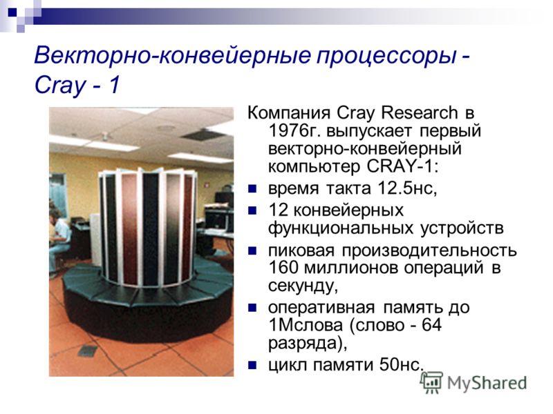 Векторно-конвейерные процессоры - Cray - 1 Компания Cray Research в 1976г. выпускает первый векторно-конвейерный компьютер CRAY-1: время такта 12.5нс, 12 конвейерных функциональных устройств пиковая производительность 160 миллионов операций в секунду