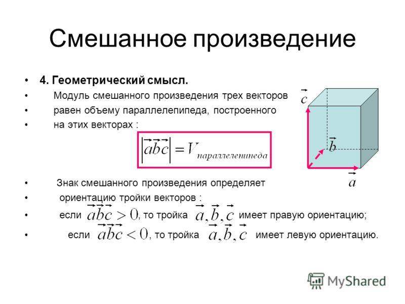 Смешанное произведение 4. Геометрический смысл. Модуль смешанного произведения трех векторов равен объему параллелепипеда, построенного на этих векторах : Знак смешанного произведения определяет ориентацию тройки векторов : если, то тройка имеет прав