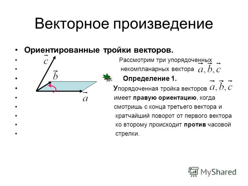 Векторное произведение Ориентированные тройки векторов. Рассмотрим три упорядоченных некомпланарных вектора Определение 1. У порядоченная тройка векторов имеет правую ориентацию, когда смотришь с конца третьего вектора и кратчайший поворот от первого