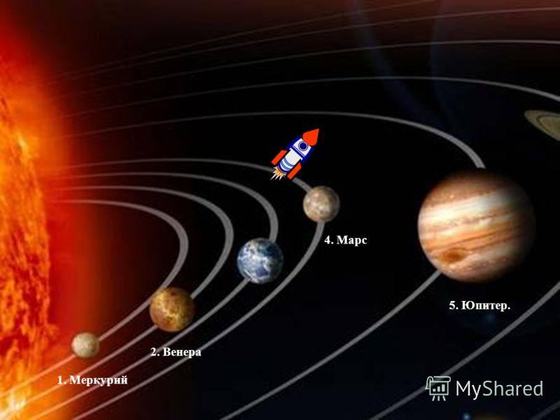 1. Меркурий 2. Венера 4. Марс 5. Юпитер.