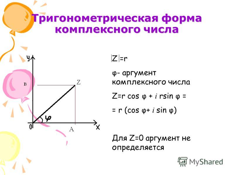 Тригонометрическая форма комплексного числа Z =r φ- аргумент комплексного числа Z=r cos φ + i rsin φ = = r (cos φ+ i sin φ) Для Z=0 аргумент не определяется